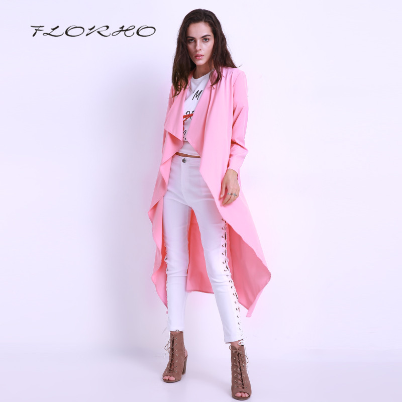 Autumn Spring Women Blouse Jackets Long Sleeve Casual Windbreaker Plain Long Belted Cardigan Duster Coat Overalls Plus Size 3XL