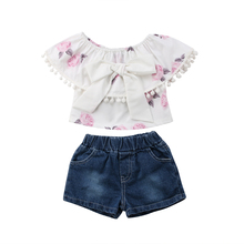 Toddler Kid Baby Girl Clothes Casual Short Floral T-Shirt Top+Belted Denim Short Pants Outfit Summer Sunflower Robe Fille belted floral and plaid shell top