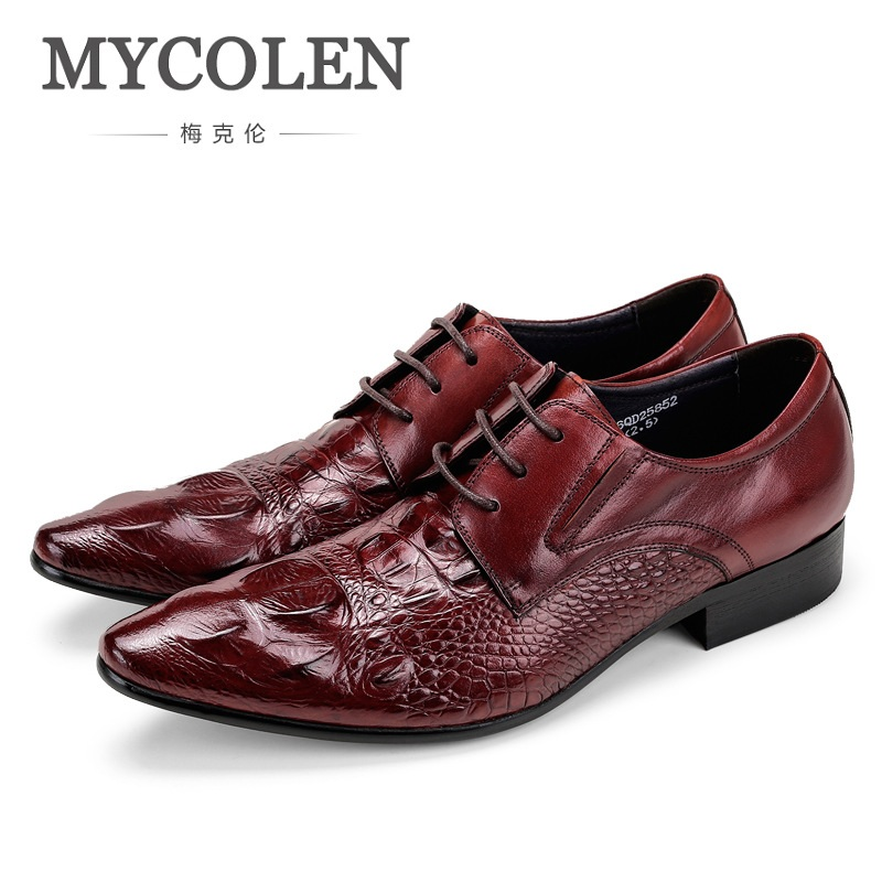 MYCOLEN Spring/Autumn Crocodile Grain Flats Mens Loafers Lace-Up Wedding Genuine Leather Dress Mens Casual Shoes Derby Homme pjcmg crocodile grain black wine red summer flats mens loafers lace up wedding genuine leather dress mens casual shoes