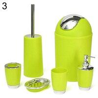 6 Pcs Bathroom Accessory Bin Soap Dish Dispenser Tumbler Toothbrush Holder Set