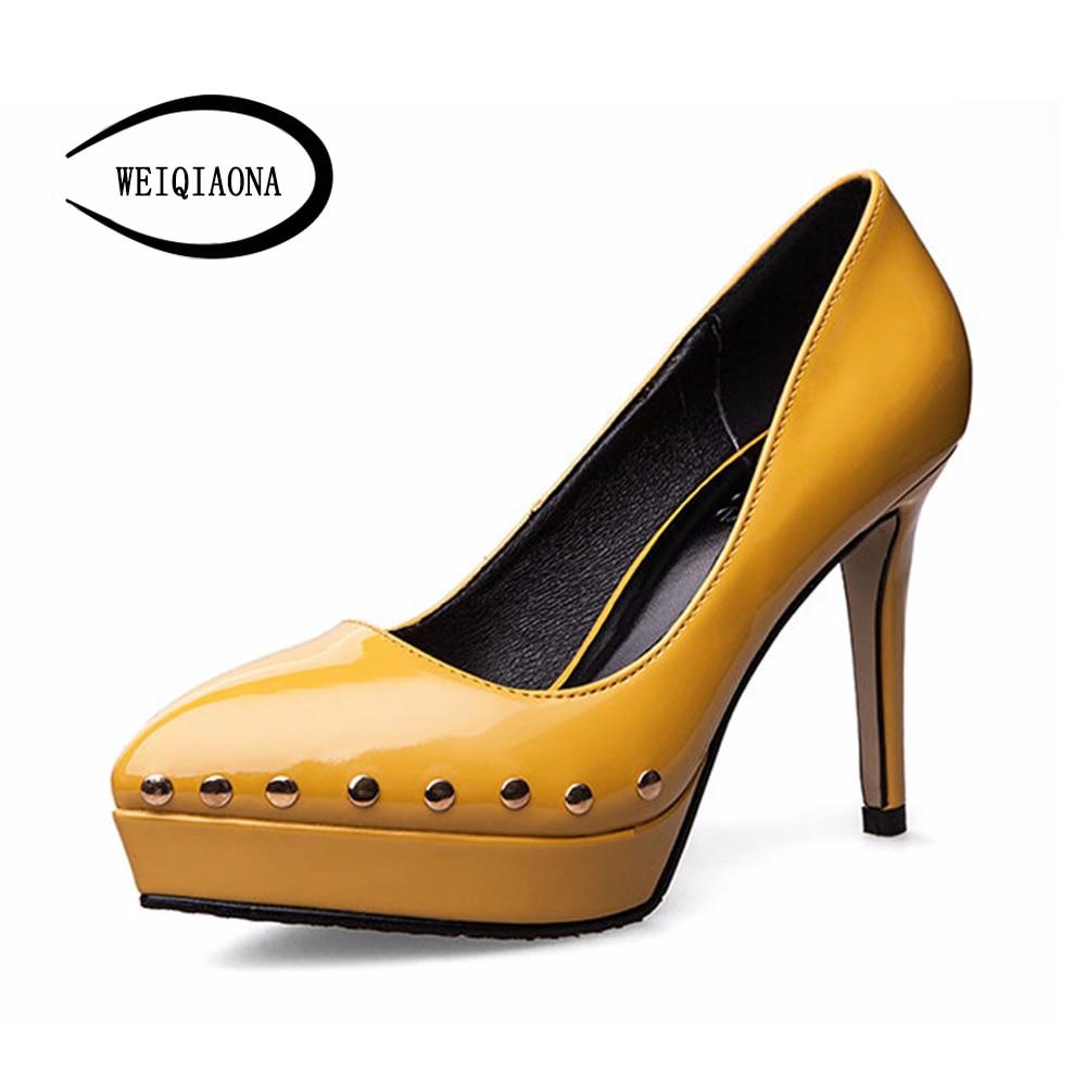 Tacones De Modelo Sexy Nuevo Weiqiaona amarillo Altos Plataforma Marca Boda  Las Para Mujeres Rosado Elegante Señoras Tendencia ... c960f7a4ff