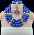 Royal Blue Nigeriano Boda Perlas Africanas Joyería Conjunto De Collar de la Bola de dama de Honor de Traje Africana Sistemas de La Joyería Nupcial Libre