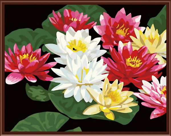 Frameless picture on wall acrylic painting by numbers diy canvas painting art Christmas gift Lotus coloring by numbers 40X50CM