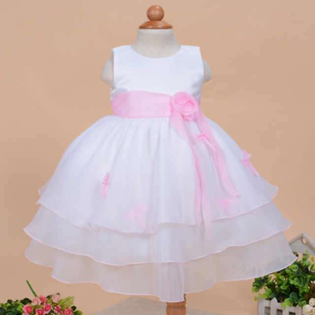1 Year Old Birthday Baby Dress Light Pink Formal Party Vestido 2017 Formal Elegant Baby Toddler Clothing For 0-24M SKF154722