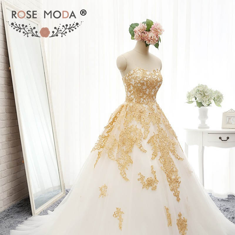 Gold lace wedding dress good dresses for White and gold lace wedding dress