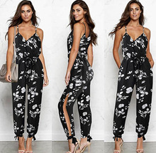 2019 Hot Women Print Jumpsuit Floral Pattern Straps Casual Rompers Pantsuits Black Loose Holiday Daily Wear eDressU CLX-101047