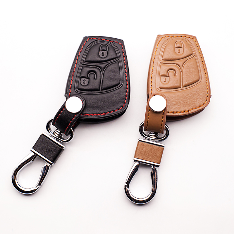 Men Genuine Leather Car Key Bag Cover Case Holder for Mercedes Benz W124 W202 W203 W210 W211 W204 2 buttons remote control image