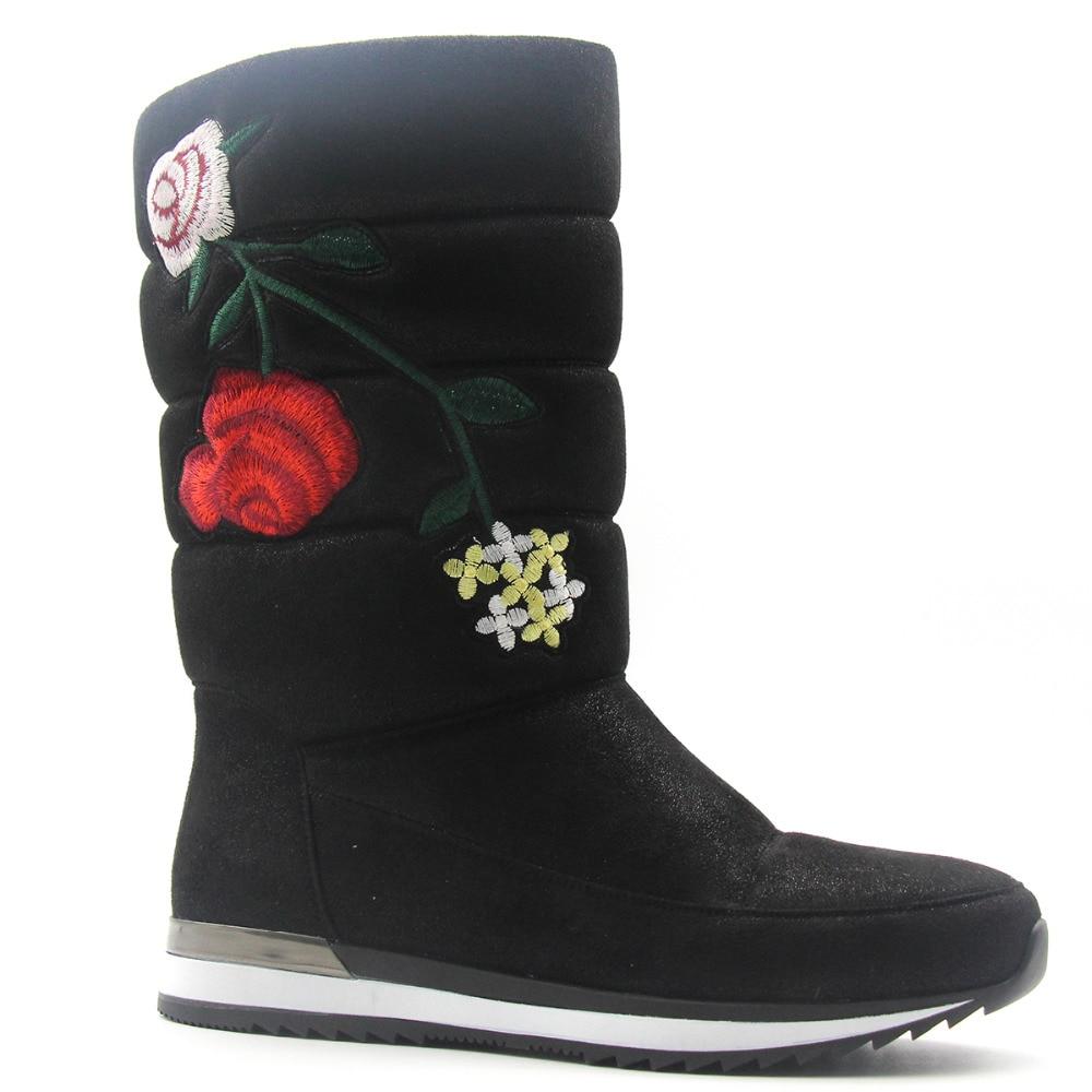 Solid Embroider Snow Flat Boots Women Pure Black Platform Warm Mid Calf Fur Flower Plush Low Metal Heel Shoes Winter Sewing Bota рюкзак case logic 17 3 prevailer black prev217blk mid