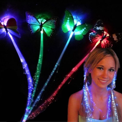 Cool LED Shining Hair Braids Barrette Flash LED Fiber Hairpin Clip Light Up Headband