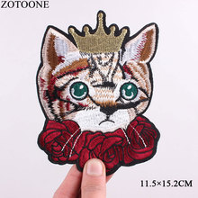 ZOTOONE New Cute Rose Crowned Cat Patches Embroidery Iron on for Clothes DIY Accessory Applique Stickers Kids Gift D