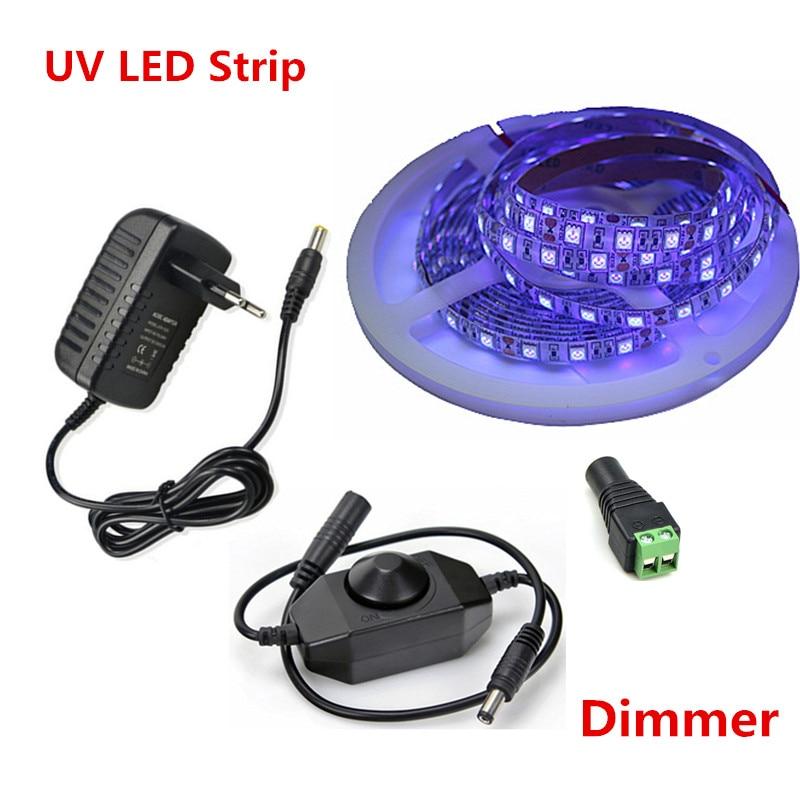 Luz de tira conduzida uv 5050 smd 60 leds/m 395-405nm raio ultravioleta diodo led fita lâmpada flexível roxa + interruptor dimmer + adaptador de energia