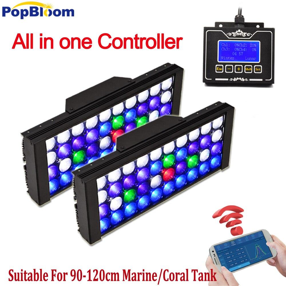 PopBloom Programmabile acquario marino ha condotto l'illuminazione reef 165 W coral carro armato di pesci led acuario marino lampada reef luzes ha condotto la luce MJ3BW2