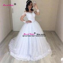 a8b8c7cab1f67 Romantik düğün elbisesi 2019 Zarif Prenses Uzun Kollu Aplikler Ünlü Balo  vestido De Noiva Illusion Gelin elbise