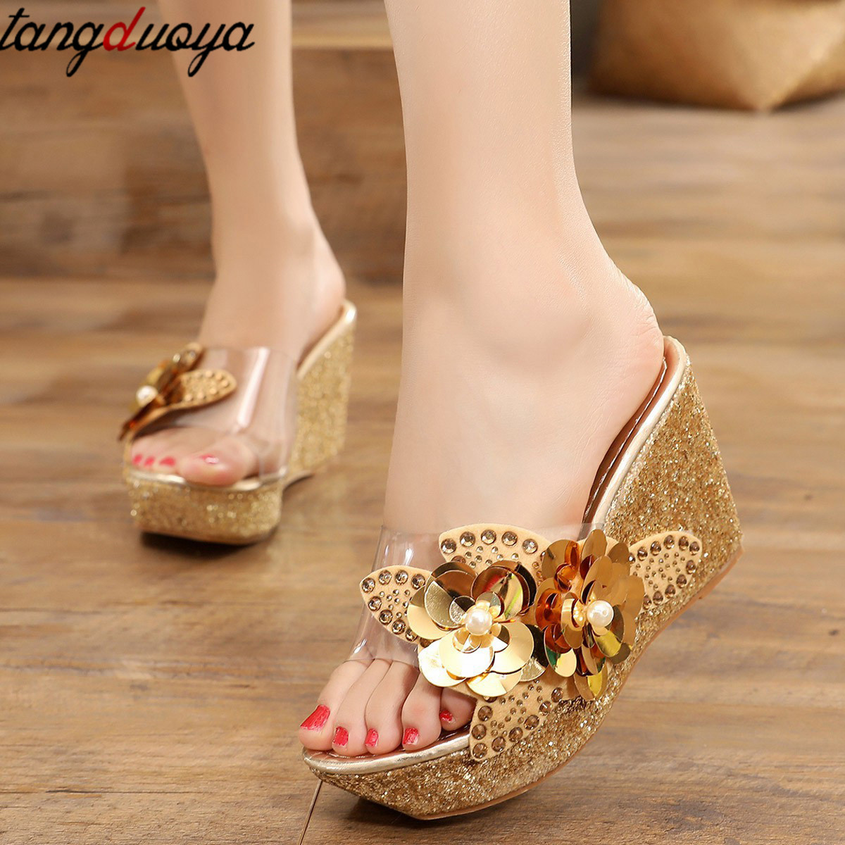 Platform Slippers Wedge Slides Slippers Women Summer Shoes Beach Sandals Slippers Ladies Shoes With Heels Pearl Flower 2019