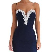 Плюс Размер Сексуальные Женщины Кружева Печатных Платье Vestido Bodycon Strappy V Шеи Цветочные Кружева Коктейль Короткое Платье Темно-Синий