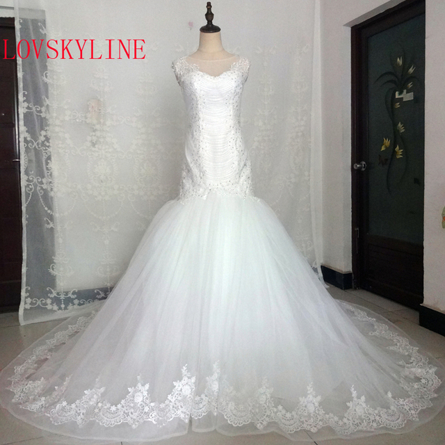 Real Pictures White Ivory Big Train Bridal Dress Vintage Muslim Plus ...