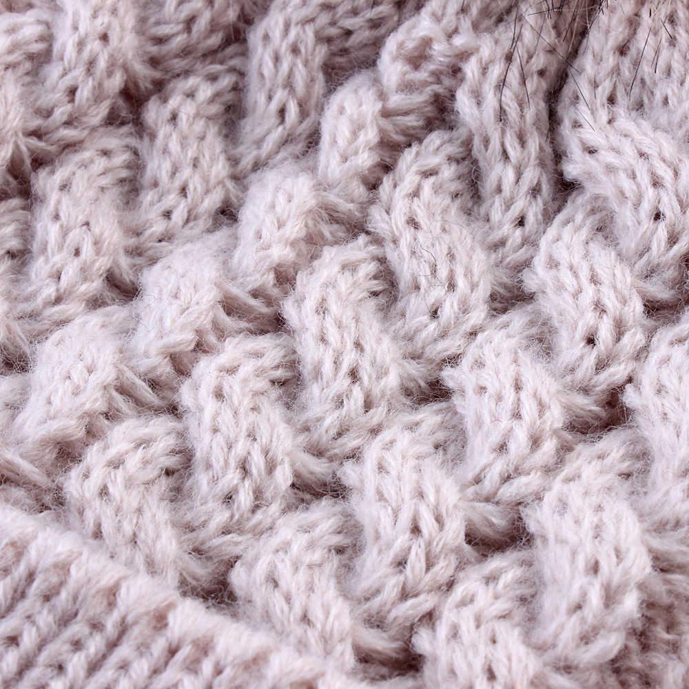 1Pcs แฟชั่นผู้หญิงฤดูใบไม้ร่วงฤดูหนาว Warm หมวกถักหมวกถักนุ่มถักขนสัตว์หมวก Pompom Ball ปรับหมวก