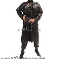 Black Sexy Latex Pajamas With Pockets Long Sleeves Belts Rubber Jacket Coat Robe YF 0068