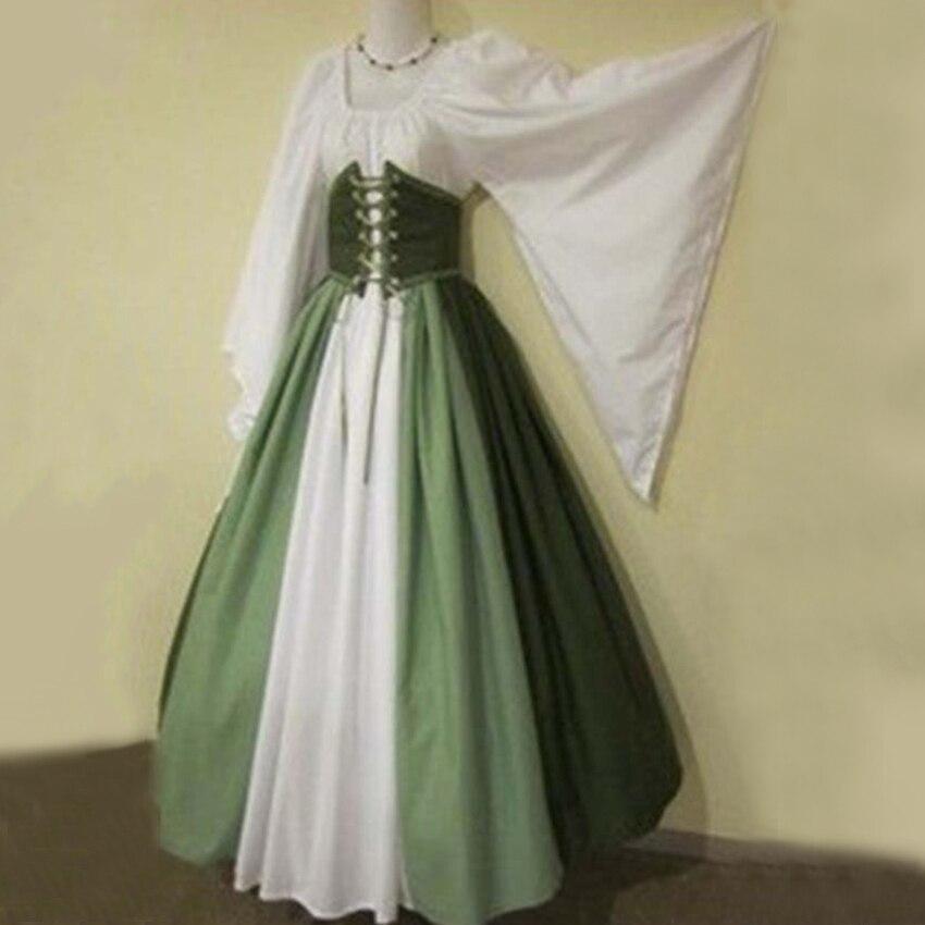 Femmes Renaissance gothique médiévale longues robes pour Halloween robes de Bandage Costumes gothiques robes de soirée dames tissu