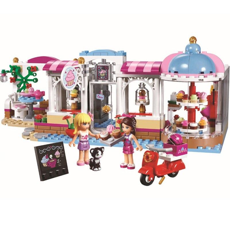 WAZ Compatible Legoe Friends 41119 Bela 10496 444pcs Heartlake Cupcake Cafe Salon Figure building blocks Bricks toy for children 2016 bela 10497 10496 10493 girls friends city park cafe building blocks set figures bricks toys 41119