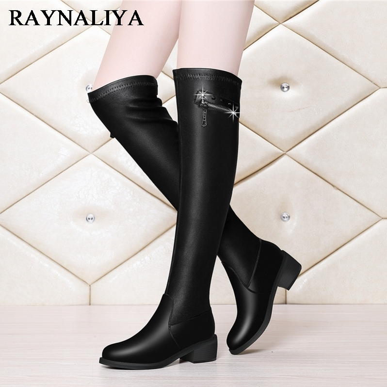 Over Knee Boots For Women Black Winter Elasticity Microfiher Winter Warm Square High Heel Boot Round Toe Knight Shoes YG-A0035 winter boots women black breathable comfortable round toe warm velvet high heeled shoes knee high red boot 44 43 plus large size
