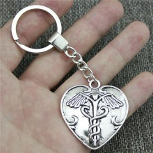 Caduceus Medical Symbol Keyring Keychain 42x40mm Antique Silver Key Chain