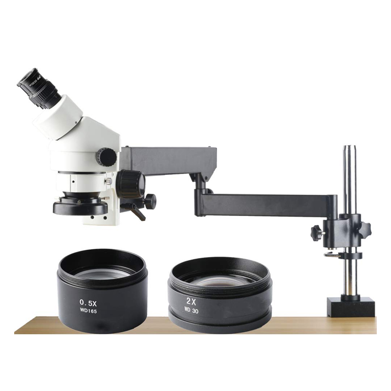 3.5X 90X Inspection Dissecting Zoom Power Stereo Microscope Compound Binocular Stereo Zoom Microscope 144 LED Light