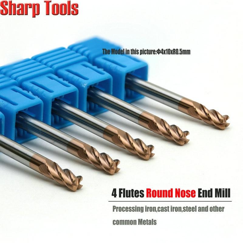 5pcs Solid Carbide 4mm Corner Radius End Mills 4F Radius R0.5mm Shank Tool