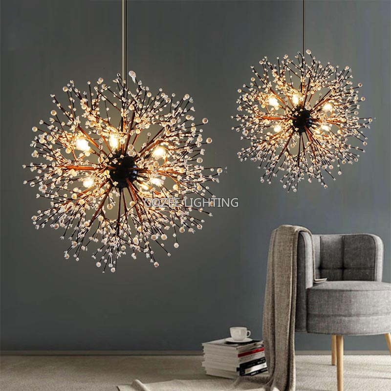 Modern Acrylic Chandelier Lighting Globe LED Glass Chandeliers Light Round Hanging Pendant Lamp for Living Dining Room Bedroom