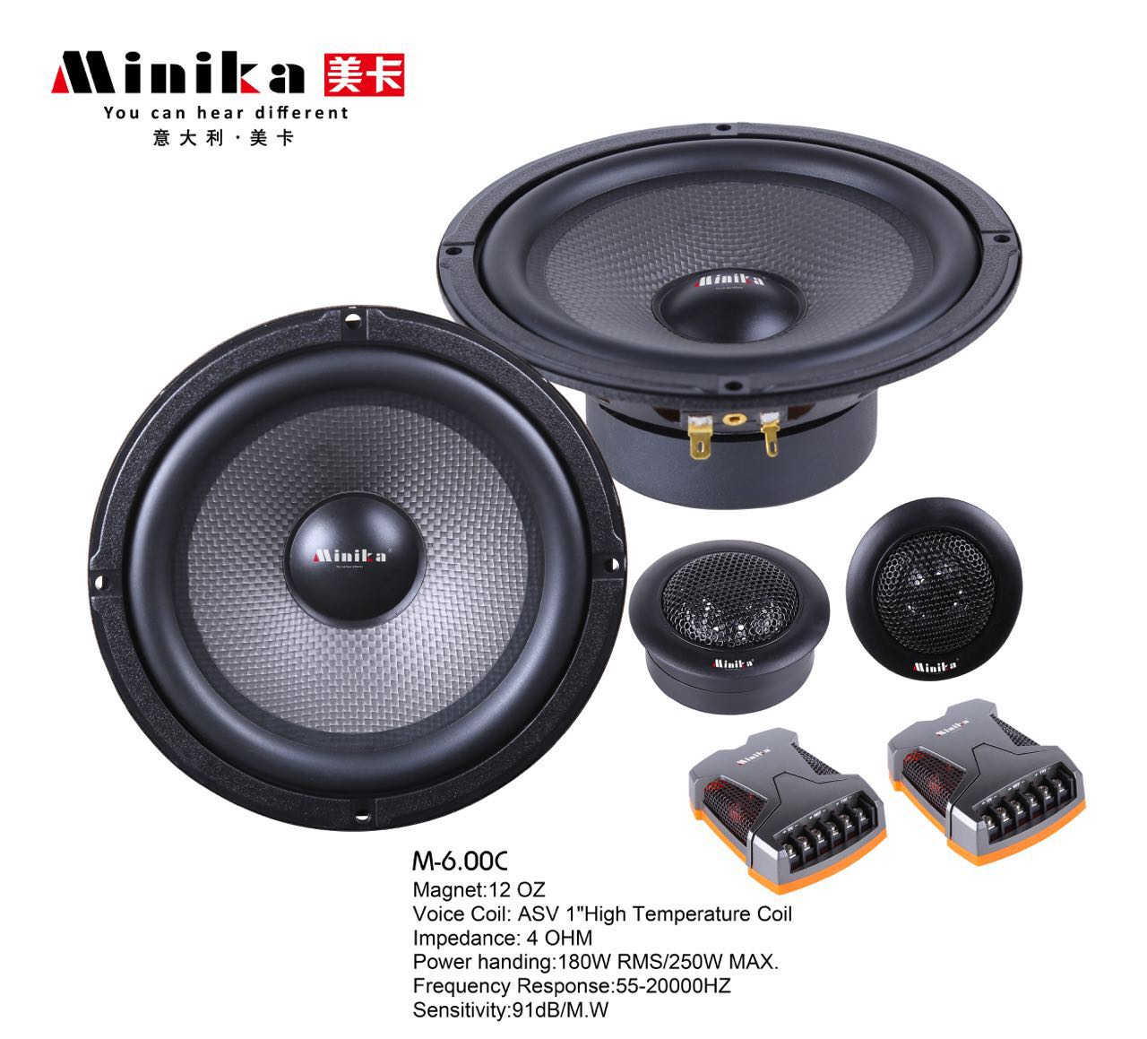 Minika 6.5inch Car Audio Speaker Component 4ohm 250W with Tweeter Cross  Over 2 Way HIFI