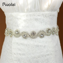 Crystal Rhinestones Evening Party Gown Dresses Accessories Wedding Belts Sashes Bridal Waistband Bridal Sashes Belts FBT01