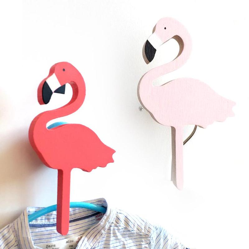 Flamingos wooden clothes hook for kids room wall decorate for Wall hooks for kids room