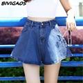 2016 New Summer Womens Vintage High Waist Flared Skirt Shorts Denim Short Jeans Casual Loose Wide Leg Jeans Shorts Women Culotte