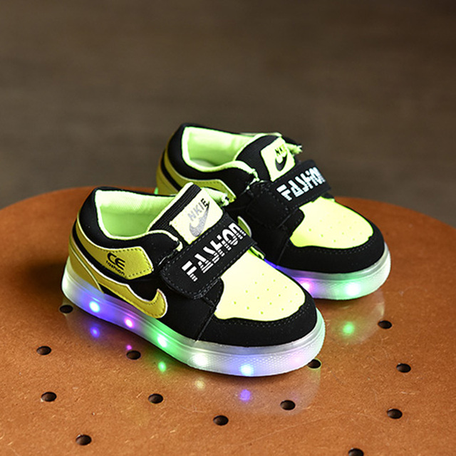 High Quality Led Lighting Shoes For Kid S Pink Velcro Sneakers Children Boy Casual Chaussures Fille