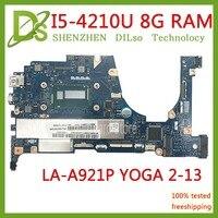 KEFU для Lenovo Yoga 2 13 ноутбука FRU системной платы 5B20G19207 LA A921P с I5 4210U 1,70 ГГц Процессор 8 ГБ Оперативная память оригинальный mothebroard