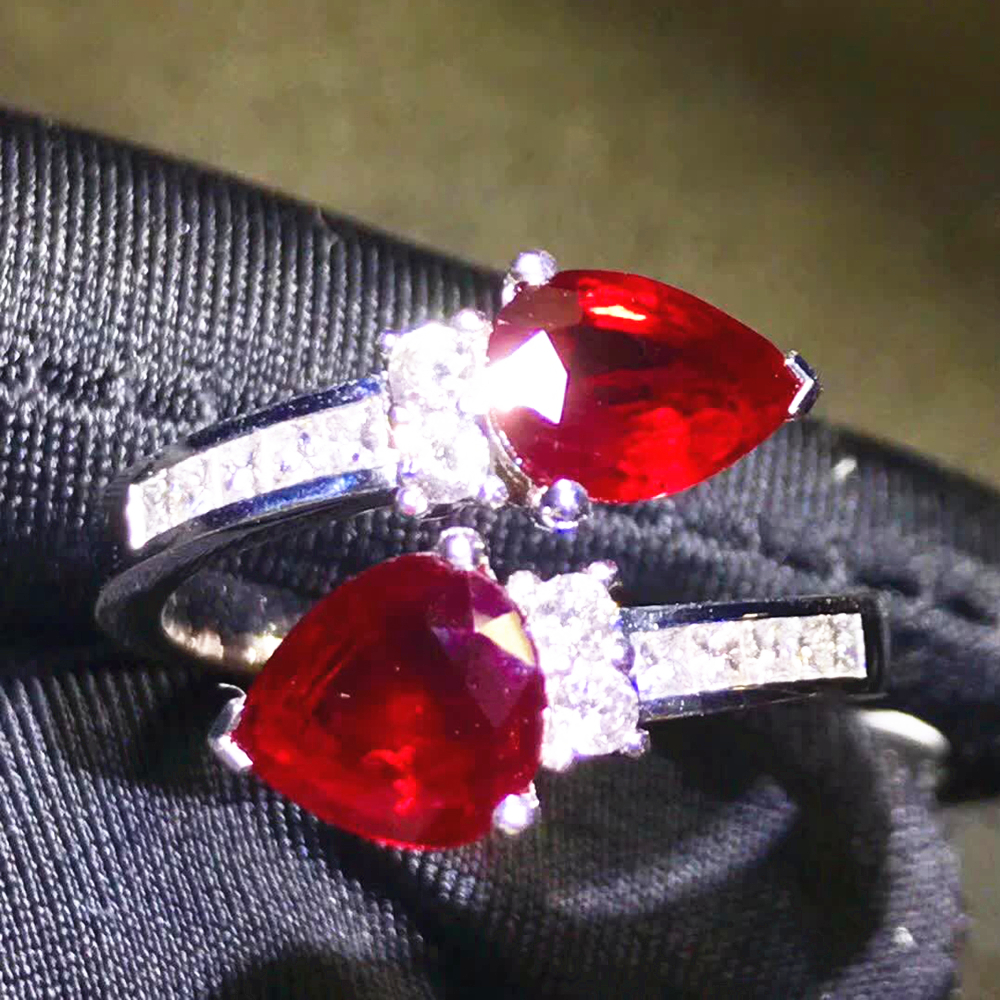 gemstone jewelry factory classic luxury 18k gold South Africa real diamond 2.6ct red natural ruby wedding engagement ring 1