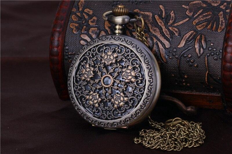 8076   Large Pocket Watch Court Carved Five Golden Flower Hollow Pocket Watch Chain Pocket Watch Five Rose Pocket Watch