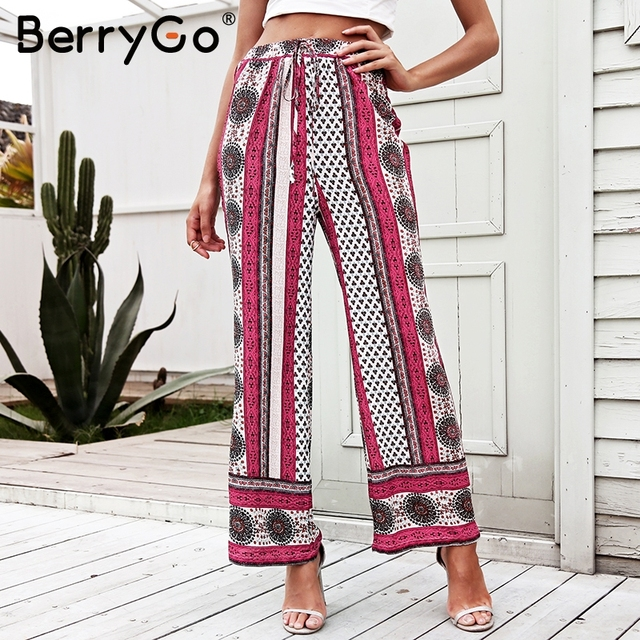 a64daa8b764 BerryGo High waist split wide leg pants Women vintage boho floral print  pants 2018 Spring summer