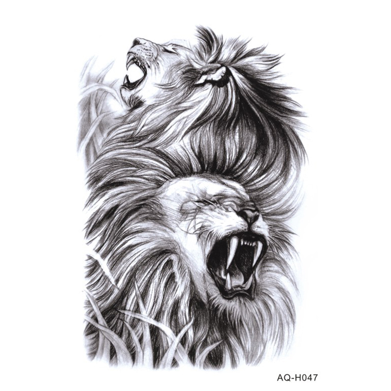 Large Arm Sleeves Temporary Tattoo Sticker Cool Power Lions Arm Art