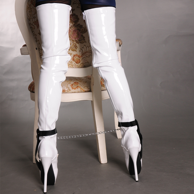 d14b09c977eb2c 18cm 7 inch Extreme High Heel over knee ballet heels black thigh high boots  fetish Sexy Thin heel Padlocks Chain crotch boots-in Over-the-Knee Boots  from ...