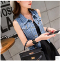 2016 Spring Summer Style Retro Washed Women Denim Vest Waistcoat Sleeveless Denim Jacket Women Slim Cardigan Jeans Vest