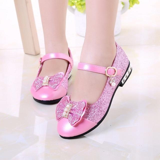 SLYXSH  Children Princess Shoes Girls Sequins Girls Wedding Party Kids Dress Shoes for Girls Pink / Rose Red/ Gold shoes