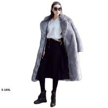 цена на Faux fur coat fashion 2017 winter new environmentally friendly Fur coat imitation fox fur long section Coat thick fur coat