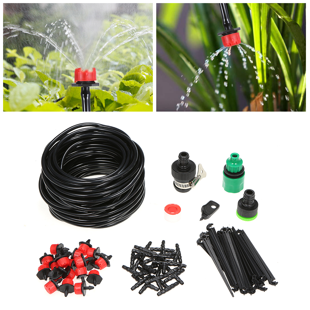 15m Tubes Autowatering Automatic Drip Irrigation System Garden Greenhouse Irrigation Spray Self Watering Kits Plant Watering