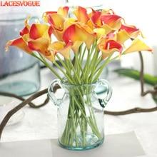 Искусственные цветы Пу каллы Флорес Букеты Свадебные Декоративные искусственные цветы дома осеннее украшение искусственные растения 21 шт