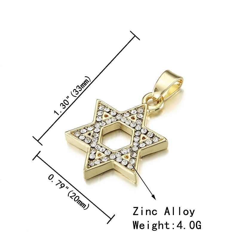 Mężczyźni Hip Hop biżuteria gwiazda dawida heksagram wisiorek Iced Out Chain betonowa Bling kryształ Charm naszyjnik łańcuch ze stali nierdzewnej tytanu