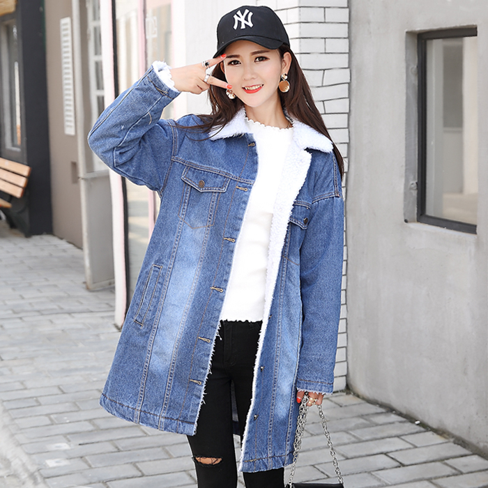 Autumn Winter New 2017 Women  jean Coat With 4 Pockets Long Sleeves Warm Outwear Wide  Thick Velvet cotton Wide Denim Jacket bishe spring autumn winter new 2017 fur jean denim jacket winter blue women jacket coat with hooded long sleeves warm outwear