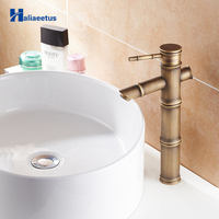 Antique Bamboo Bathroom Faucet Single Handle Bamboo Water Tap Antique bronze finish Brass Basin Sink Tall Faucet