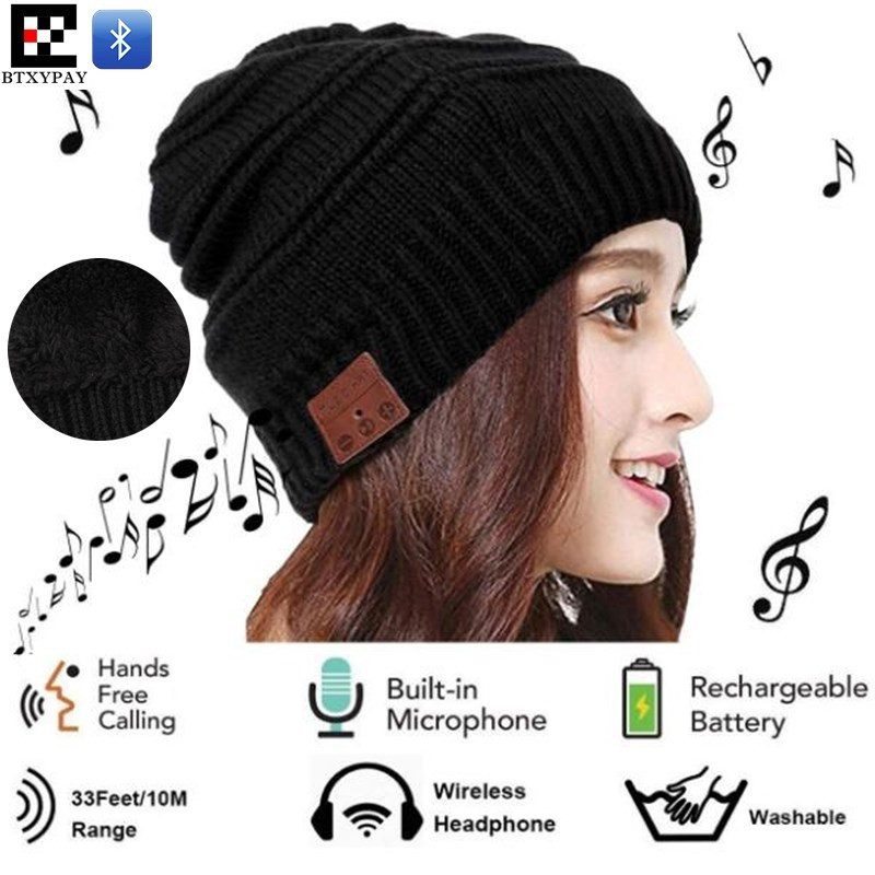 Winter High Elastic Wireless Beanie Plus Velvet Knitted Hat Hand-free Headset Speaker Mic Stereo Magic Music Smart Bluetooth Cap