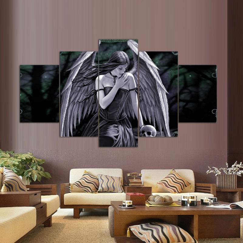 5 Pcs/Set Printed Anne Stokes Picture Painting Wall Art Room Decor Print Picture Canvas Stickers Home Decor Art Picture